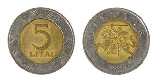 Coin Lithuania lit. On the white background (1998 year stock images