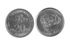 Coin of Malaysia on a white background . 20 sen Stock Photos