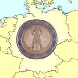 Coin on map Germany Stock Image