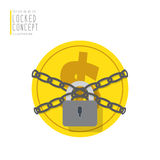 Coin money are bound with chains and locked with a padlock flat Stock Photography