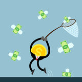 Coin money catch flying dollar bill Stock Image