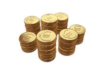 Coin money coins. Euro symbol money coins isolated stock illustration