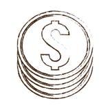 Coin money dollar sketch. Illustration eps 10 Stock Images
