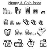 Coin & money icon set in thin line style. Vector illustration graphic design Royalty Free Stock Photography
