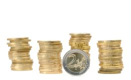 Coin money piles (isolated) Royalty Free Stock Photo