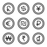 Coin with money sign set 2 vector illustration