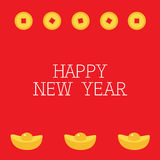 Coin money square centre. Golden bar icon. Cinese Happy New Year symbol atribute. Gold Ingot. Greeting card. Flat design. Red back Stock Images