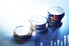 Coin money stacked growing with graph chart.Business financial Stock Images