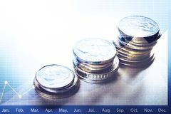 Coin money stacked growing with graph chart.Business financial. Concept Stock Images