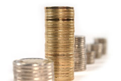 Coin money in stacks isolated Royalty Free Stock Image