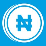 Coin naira icon white Royalty Free Stock Images