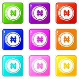 Coin naira icons 9 set Stock Photos