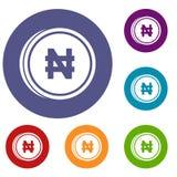 Coin naira icons set Royalty Free Stock Image
