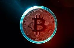 Coin of  new virtual money Bitcoin. A coin of the virtual Money Bitcoin isolated on black background Stock Images