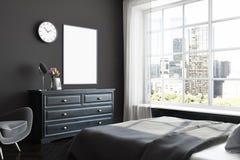 Coin noir de chambre à coucher, affiche, raboteuse Photo libre de droits
