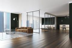 Coin noir moderne d'appartement de mur Photographie stock libre de droits