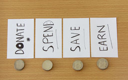 Coin and the note. With  earn spend save and donate money Royalty Free Stock Images