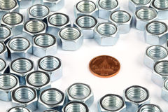 Coin and nuts Stock Photo