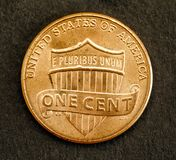 Coin one cent american dollar of united states with the figure of Lincoln. Back royalty free stock photo