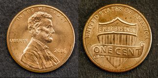 Coin one cent american dollar of united states with the figure of Lincoln. Front and back royalty free stock images
