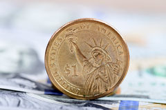 Coin one dollar Stock Photography