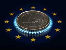 Coin one EURO and an European Union flag. Stock Image