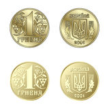 Coin one Hryvnia in vector Royalty Free Stock Images