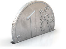 Coin one ruble falls piggy bank slot  on white. Silver coin one ruble falls piggy bank slot  on white Stock Photos