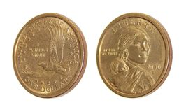 Coin one US dollar  Sacagawea Dollar Royalty Free Stock Photo