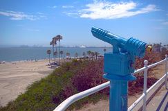 Coin-Op Telescope. An old, coin operated telescope at the beach near a major port Stock Images