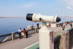 Coin operated binocular on the bank of river Volga in summertime Royalty Free Stock Photos