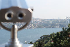 Coin operated binocular with Istanbul Stock Images