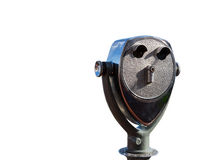 Coin operated binocular white background. Royalty Free Stock Photos