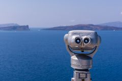 Coin operated Binoculars in Santorini island, Greece stock images