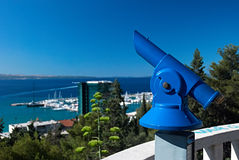 Coin operated binoculars. At the stairs to the mountain park in Split, Croatia Stock Photography