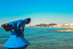 Coin operated binoculars. View of Lloret de Mar, Spain Royalty Free Stock Photos