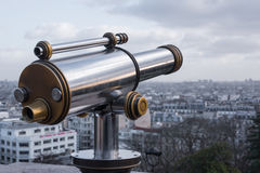 Coin operated monocular with Paris Stock Photo