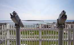 Coin Operated Monocular Telescopes At Fort Mackinaw Stock Image