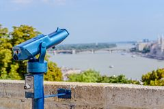 Coin operated public telescope in Budapest Royalty Free Stock Image