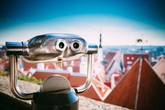 Coin Operated Telescope Binocular For Sightseeing Royalty Free Stock Photo