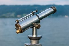 Coin operated telescope with brass elements Stock Photography