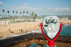 Coin operated telescope at Newport Beach Stock Image