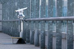Coin operated telescope on the observation deck. At the airport, Prague Royalty Free Stock Photography