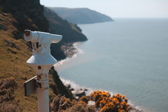 Coin operated telescope by the sea Royalty Free Stock Photography