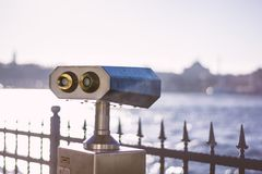 Coin Operated Viewfinder in Istanbul. Coin Operated Viewfinder with Golden Horn in View Stock Images