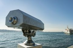 Coin operated viewfinder. With Istanbul Bosphorus in View Stock Image