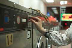 Coin operated washing machine Stock Photography
