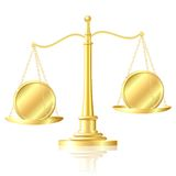 Coin outweighs another coin on scales. Royalty Free Stock Photos