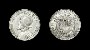 Coin of Panama with image of admiral Medio Balboa Royalty Free Stock Photography
