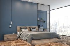 Coin panoramique bleu de siège de chambre à coucher et social illustration stock